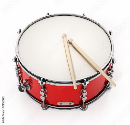 Fotomural Snare drum set isolated on white background. 3D illustration