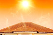 canvas print picture - Hot weather in summer overheat home roof from sun burn.