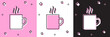 Set Coffee cup flat icon isolated on pink and white, black background. Tea cup. Hot drink coffee.  Vector Illustration