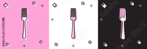 Fotografie, Obraz Set Fork icon isolated on pink and white, black background
