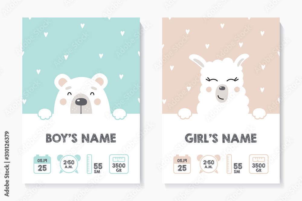 Fototapeta A set of children's posters, height, weight, date of birth. Bear, Lama. Vector illustration on mint and pink background. Illustration newborn metric for children bedroom.