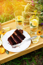 Summer Picnic, A Slice Of Chocolate Cake And A Cooling Lemonade With Wild Flowers