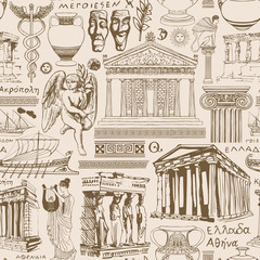 Fototapeta Architektura Vector seamless pattern on the theme of Ancient Greece. Repeating background, Wallpaper, wrapping paper or fabric with sketches of architectural monuments and symbols of ancient Greek culture