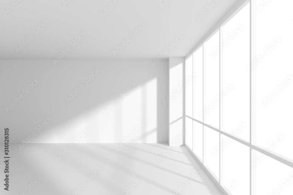Obraz White empty office business room with sun light from large windows fototapeta, plakat