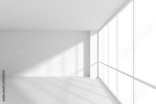 Fototapeta White empty office business room with sun light from large windows obraz