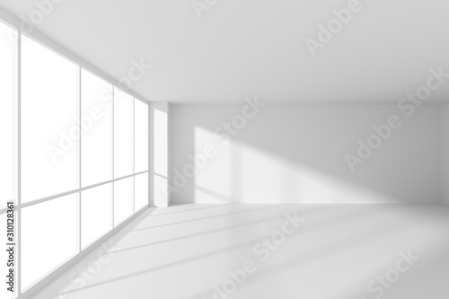 Fototapeta Empty white office business room with sunlight from large windows obraz