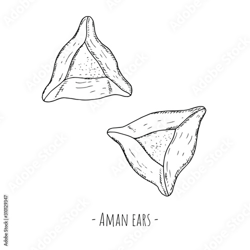 Hand-drawn isolated Aman ears Canvas Print
