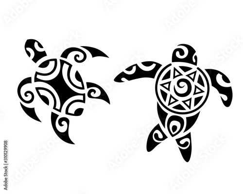 Fototapeta Sea turtles in Maori style. Tattoo sketch