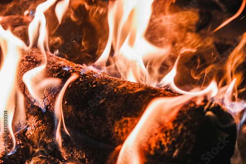 Logs on fire