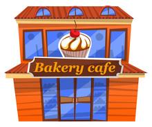 Bakery Cafe Facade With Signbo...