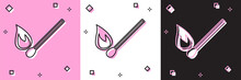 Set Burning Match With Fire Icon Isolated On Pink And White, Black Background. Match With Fire. Matches Sign. Vector Illustration