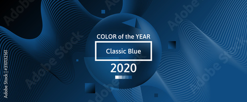 classic blue color of 2020 year abstract banner design with 3d sphere gradient dynamic waves
