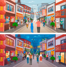 People Walking At Streets In Chinese City. Roads, Buildings With Traditional Lanterns And Ornaments Of Festival. Chinese New Year Celebration, Asia Cityscape, Oriental Skyline At Day And Night, Vector
