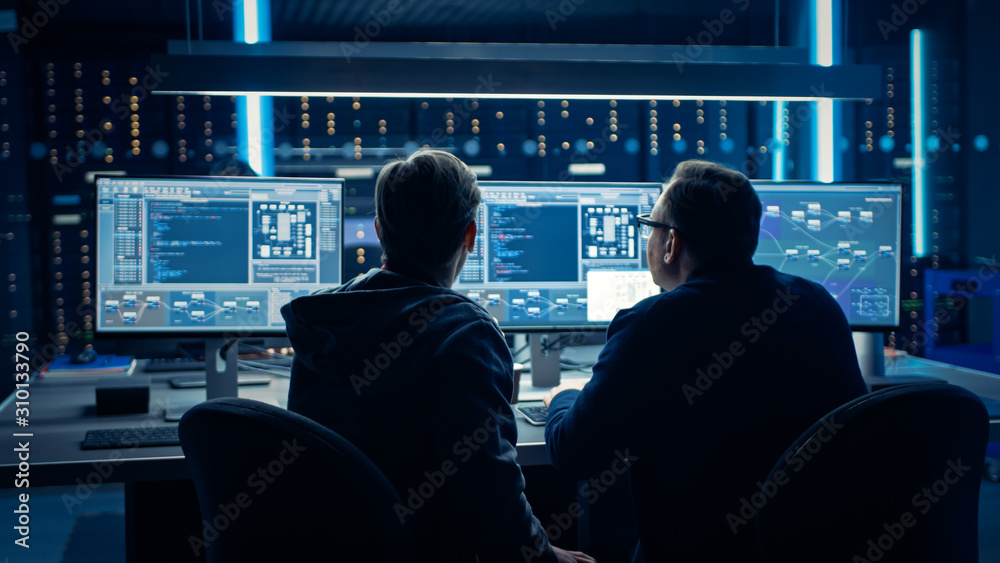Fototapeta Two Professional IT Programers Discussing Blockchain Data Network Architecture Design and Development Shown on Desktop Computer Display. Working Data Center Technical Department with Server Racks