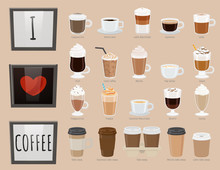 Collection Of Glasses With Drinks. Coffee Types, Variety Of Beverages. Americano And Latte Macchiato, Iced Coffee And Irish Type. Frappuccino And Frappe, Bicerin And Cocoa Takeaway. Vector In Flat