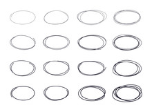 Hand Drawn Circle Line Sketch Set.  Doodle Sketched Circles.  Vector Abstract Ellipsses For Design Use.
