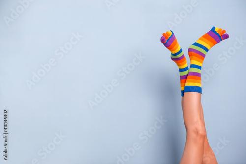 Legs in funny socks on blue background