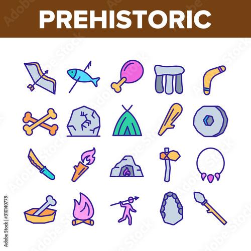 Prehistoric Primitive Collection Icons Set Vector Thin Line Tablou Canvas