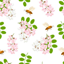 Blooming Pink And White Flowers Acacia, Green Leaves And Bees On A White Background. Seamless Floral Pattern. Vector Illustration Of Branches Of Blossoming Acacia In Cartoon Flat Style.
