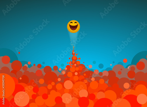 Photo  Happy emoji breaking out of red bubbles of comfortable zone