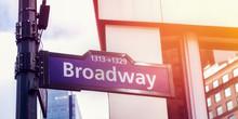 Image Of Street Sign Broadway In Manhattan, New York City, USA