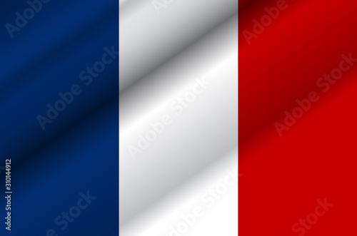 Foto  Vector illustration of wavy french flag