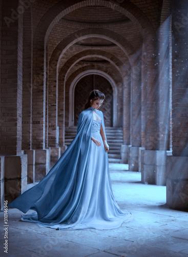 Fototapeta premium Smutna Królowa Śniegu spaceruje po starym zamku. niebieski jedwabny długi płaszcz przeciwdeszczowy pociąg latający ruch. Urocza twarz elfiej fryzury. Sztuka fantasy w stylu retro vintage. Sesja zdjęciowa Frozen Fabulous Woman. magiczne promienie słońca