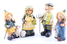 Four Shepherds - Puppets Handmade, Isolated And With Clipping Path