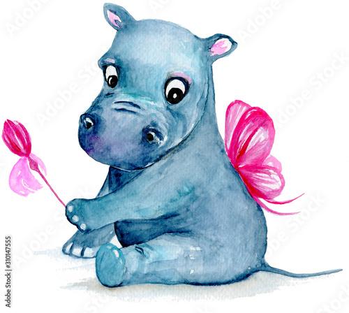 Little fairy Hippo cub with magic wand Wall mural