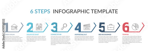Obraz Six Steps Infographic Template - fototapety do salonu