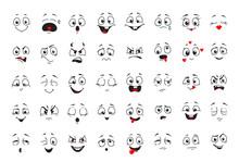 Cartoon Comics Faces Set, Smil...