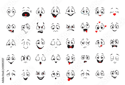 Foto Cartoon comics faces set, Smiling, crying and surprised character face icons