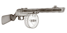 Wireframe Submachine Gun Shpag...