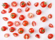 Ripe Red Cherry Tomatos On White Background. Flat Lay