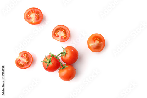 Fototapeta Red ripe cherry tomatoes isolated on white background. Top view obraz