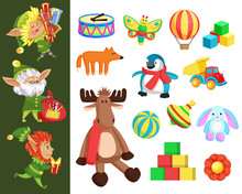 Christmas Gifts And Elves With Presents, Santa Helpers And Toys. Drum And Butterfly, Cubes And Air Balloon, Fox And Penguin, Truck And Ball. Whirligig And Flower, Moose And Bunny Vector Illustration