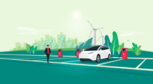 Electric Car Charging On Charger Station On Rest Area Road Highway To City. Battery Vehicle Standing On Dedicated Parking Lot. Vector Illustration With Sustainable Renewable Solar Panel Wind Power.