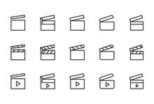Icon Set Of Clapper Board.