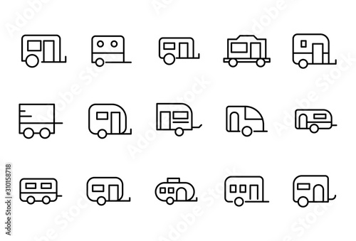 Fotografie, Obraz  Simple set of caravan icons in trendy line style.