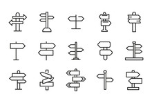 Stroke Line Icons Set Of Sign ...