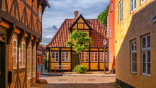 Street And Houses In Ribe Town...