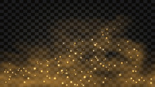 Golden Smoke With Glow Effect. Abstract Gold Fog With Light Sparkles, Star Dust, Glitter. Vector Illustration