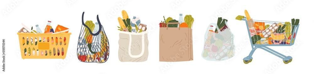 Fototapeta Shopping bags and baskets flat vector illustrations set. Grocery purchases, paper and plastic packages, turtle bags with products. Natural food, organic fruits and vegetable. Department store goods.