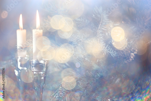Fotografía  Christmas candles decoration card, New Year, table decorations, burning candles
