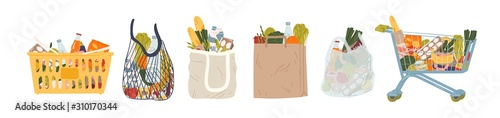 Shopping bags and baskets flat vector illustrations set. Grocery purchases, paper and plastic packages, turtle bags with products. Natural food, organic fruits and vegetable. Department store goods.