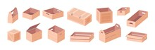 Wooden Boxes Vector Isometric ...