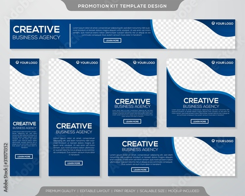 Fototapeta set of promotion kit template with simple layout and abstract style design obraz