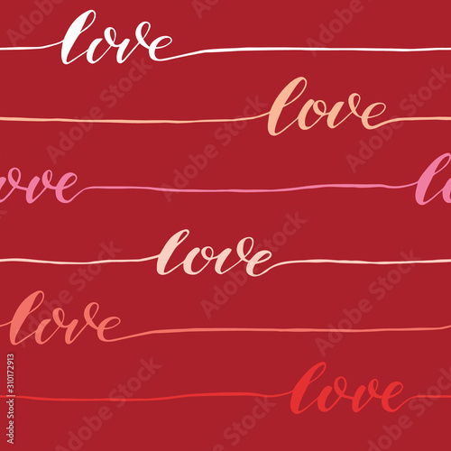 Fototapeta Abstract seamless love calligraphy pattern. Vector background
