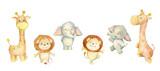 Fototapeta Fototapety na ścianę do pokoju dziecięcego - Lion, giraffe, elephant, cute tropical animals. Watercolor set of tropical animals, on a white background. set for children's holidays, children's textiles, postcards.