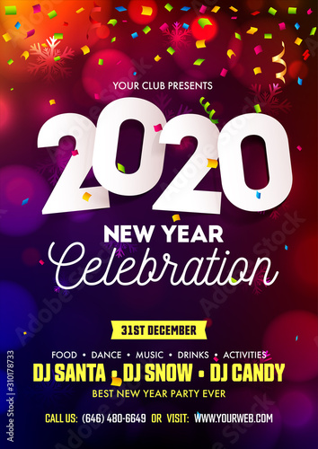 New Year 2020 Celebration Invitation or Flyer Design Decorated with Confetti and Snowflake on Colorful Bokeh Background.